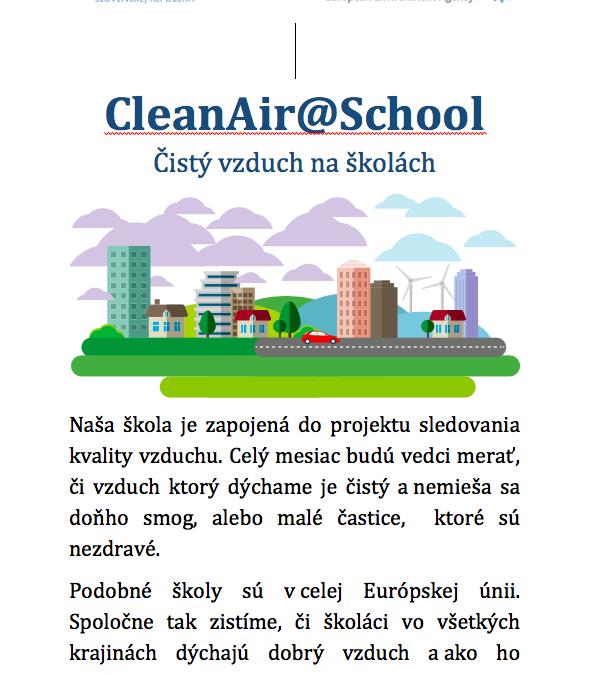 CleanAir@School – Čistý vzduch v školách