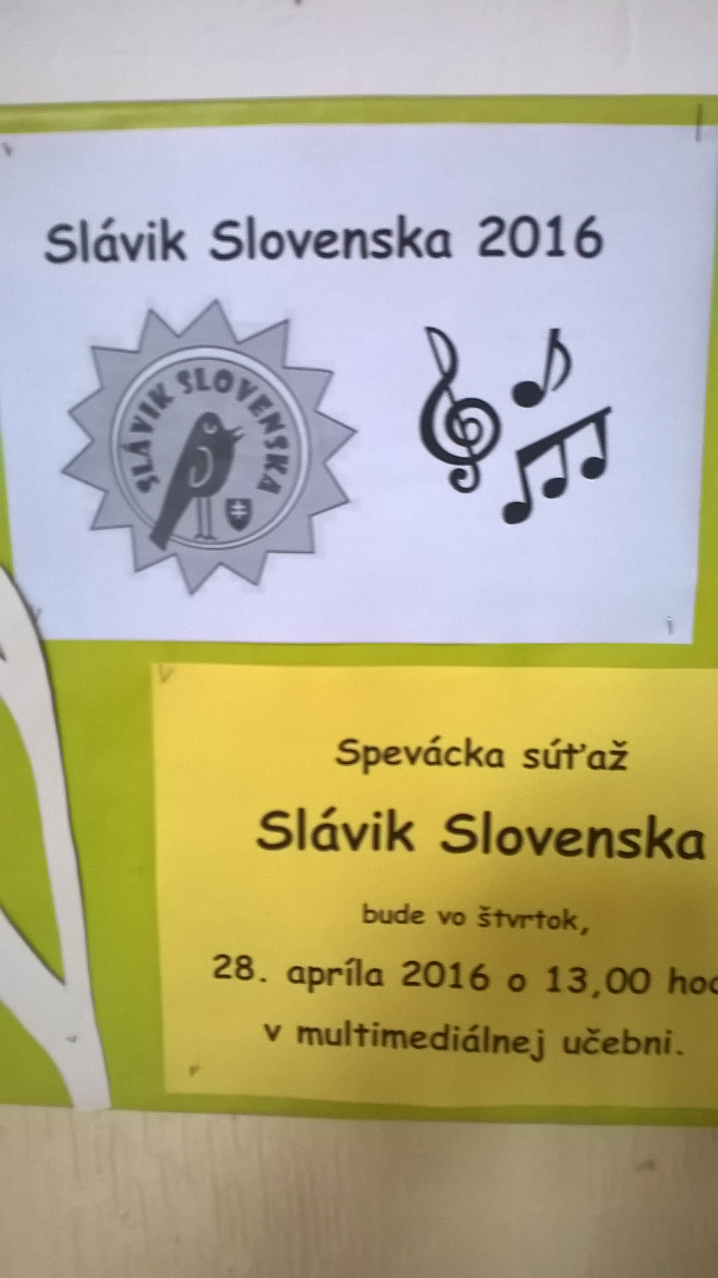 Školské kolo Slávik Slovenska 2016
